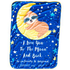 Bamboo Minky Sloth Blanket -  Double Layers - I Love You to the Moon and Back