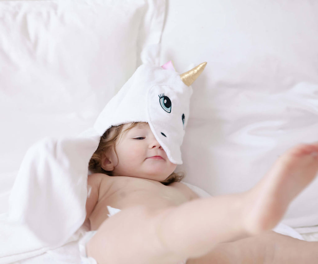 Unicorn Bamboo Baby Hooded Towel, White, for Infant to Toddler