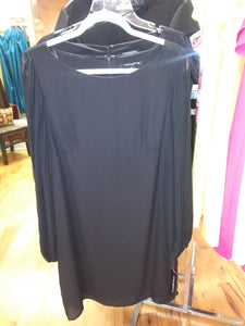 Sharagano Balloon Sleeve Black Dress