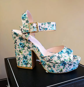 Qupid Blush Floral Block Heel