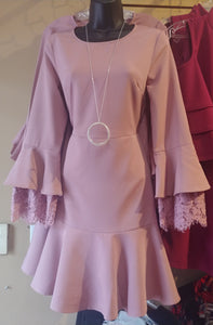 Elsey Blush Bell Sleeve Dress