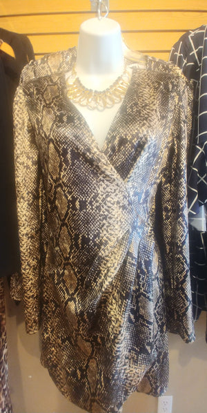 Snakeskin wrap mini dress