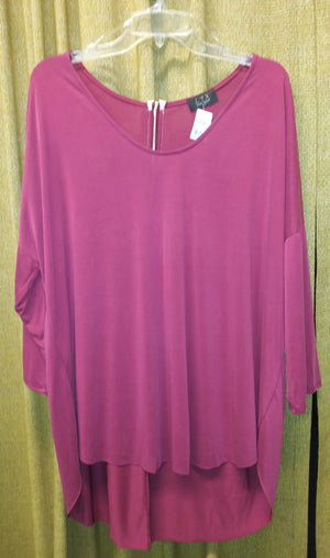 Tunic top with zipper on back