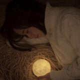 Touch moon lamp. Battery powered. Changes color