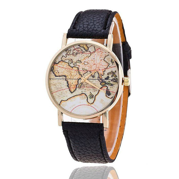 Quartz World Map Watch Women- Leather Strap