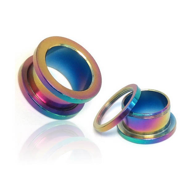 Rainbow Surgical Stainless Steel Screw Fit Flesh Tunnels-Glitters-New Zealand