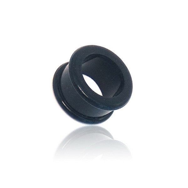 Black Colour Silicone Flexible Double Flat Flared Tunnels-Glitters