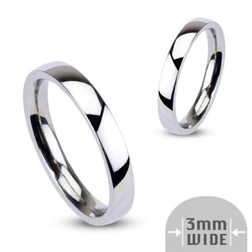 Stainless Steel 3mm Wide Glossy Mirror Polished Plain Band Ring-Glitters-New Zealand