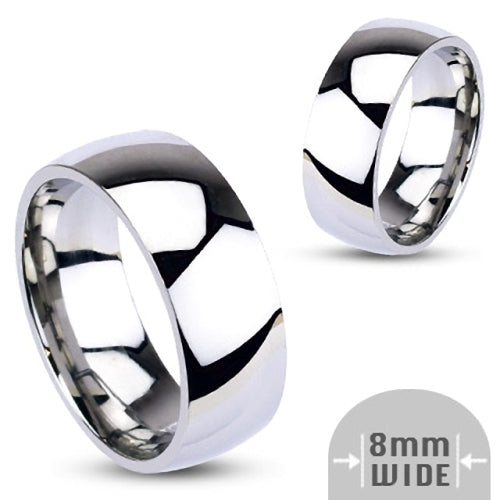 Stainless Steel 8mm Wide Glossy Mirror Polished Plain Band Ring-Glitters-New Zealand