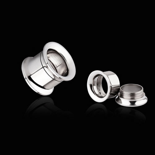 316L Surgical Steel Double Flared Screw-Fit Tunnels-Glitters