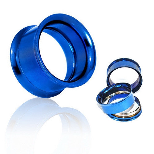 Blue Surgical Steel Double Flared Screw-Fit Tunnels-Glitters