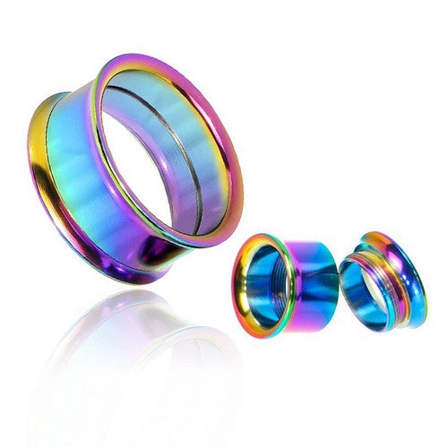 Rainbow Color Surgical Steel Double Flared Screw-Fit Tunnels-Glitters-New Zealand