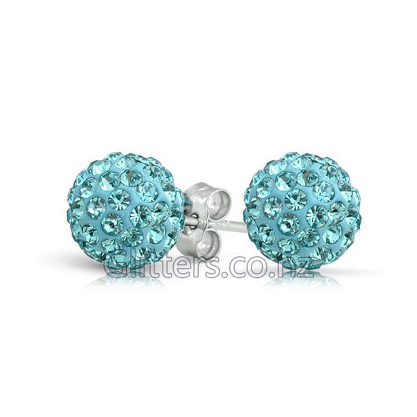 Aqua Colour Crystal Ferido Disco Ball Stud Earring-Glitters-New Zealand