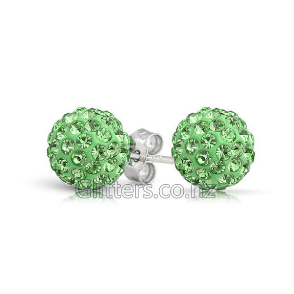 Green Colour Crystal Ferido Disco Ball Stud Earring-Glitters-New Zealand