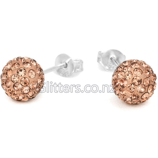 Peach Colour Crystal Ferido Disco Ball Stud Earring-Glitters