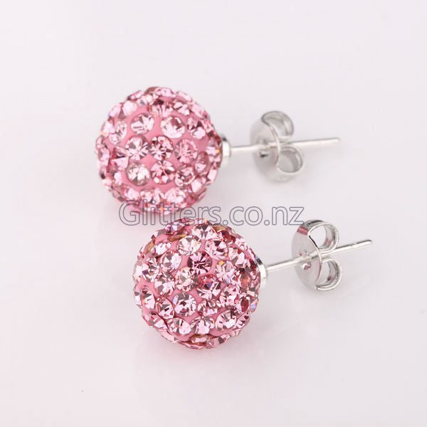 Pink Colour Crystal Ferido Disco Ball Stud Earring-Glitters
