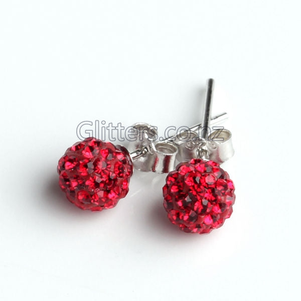 Red Colour Crystal Ferido Disco Ball Stud Earring-Glitters-New Zealand