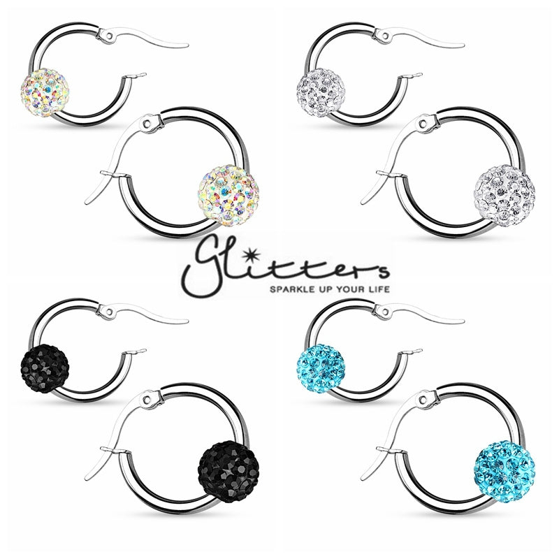Crystal Ball 316L Surgical Steel Hoop Earring-Glitters-New Zealand
