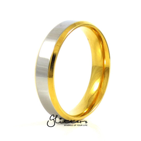 Stainless Steel 6mm Wide 2-Tone Polished Center Band Ring-Glitters