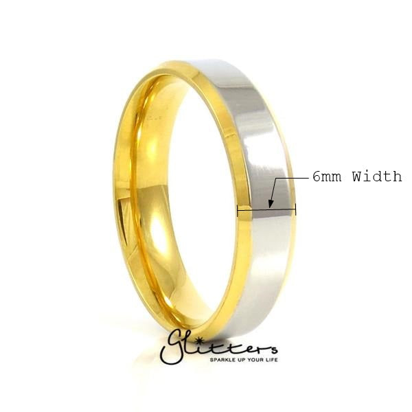 Stainless Steel 6mm Wide 2-Tone Polished Center Band Ring
