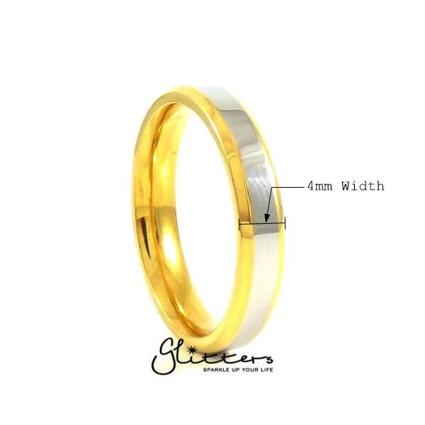 Stainless Steel 4mm Wide 2-Tone Polished Center Band Ring