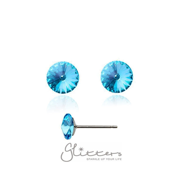 8mm Round Stud Earring Made with Swarovski Crystal-Glitters-New Zealand