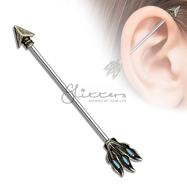 14GA Surgical Steel Tribal Arrow Industrial Barbells-Glitters-New Zealand