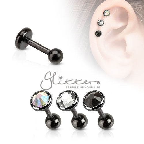 316L Surgical Steel Flat Top Disc Gem Ion Plated Cartilage Barbell-Glitters