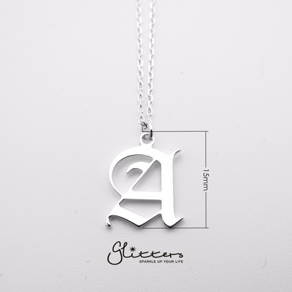 Personalized Sterling Silver Alphabet Necklace- Old English Font-Glitters
