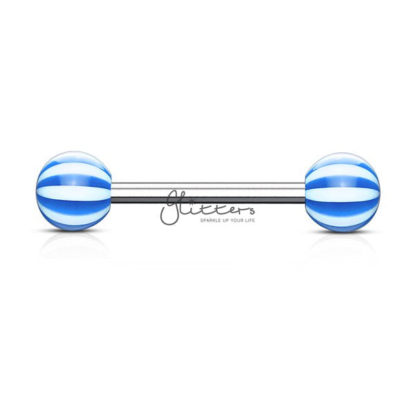 Blue Candy Stripe Acrylic Ball with Surgical Steel Tongue Bar-Glitters-New Zealand