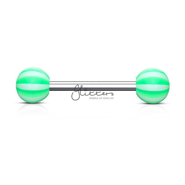 Green Candy Stripe Acrylic Ball with Surgical Steel Tongue Bar-Glitters-New Zealand