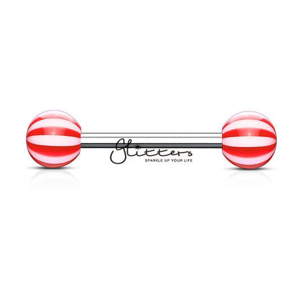 Red Candy Stripe Acrylic Ball with Surgical Steel Tongue Bar-Glitters