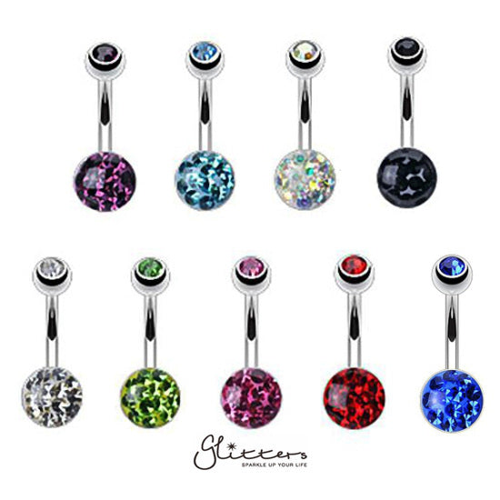 316L Surgical Steel Austrian Crystal Ball Belly Button Rings-Glitters-New Zealand