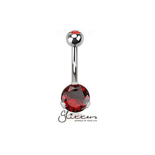 316L Surgical Steel Prong Set Cubic Zirconia Belly Button Ring-Red-Glitters-New Zealand