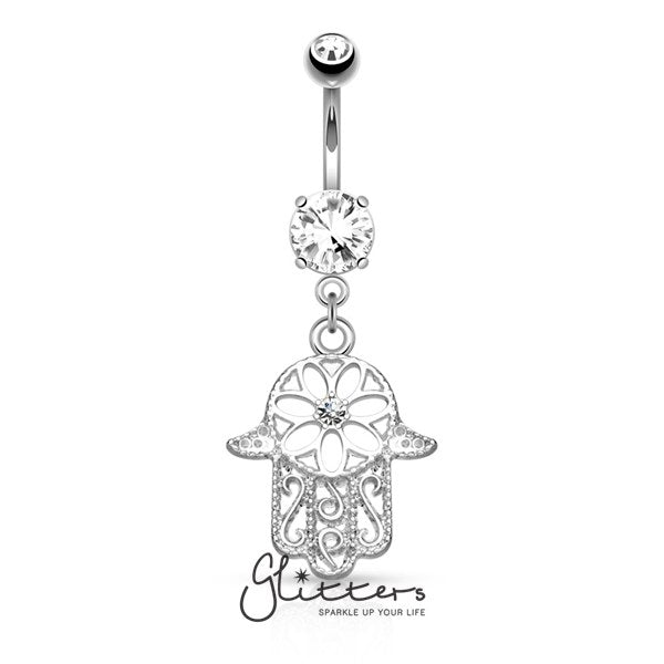 Beaded Outline Hamsa with Center C.Z Dangle Navel Ring-Silver-Glitters-New Zealand