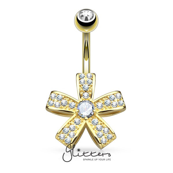 C.Z Petal Flower Surgical Steel Belly Button Navel Ring-Gold-Glitters