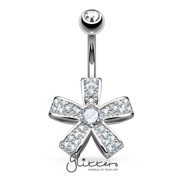 C.Z Petal Flower Surgical Steel Belly Button Navel Ring - Silver-Glitters-New Zealand