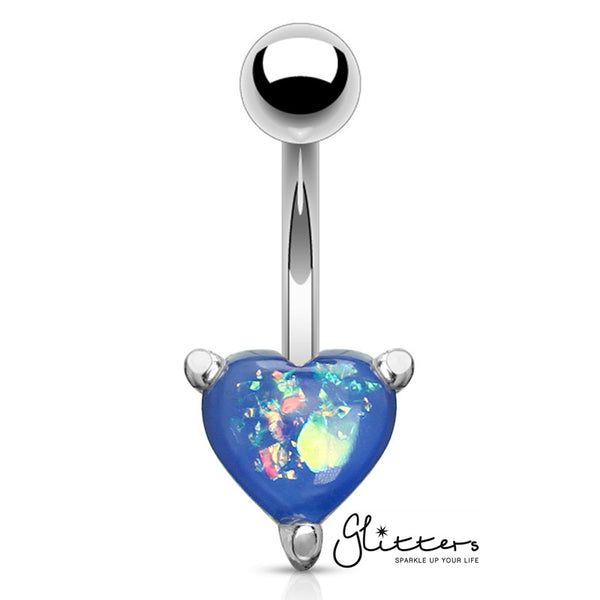 Opal Glitter Prong Heart Set Belly Button Ring - Blue-Glitters