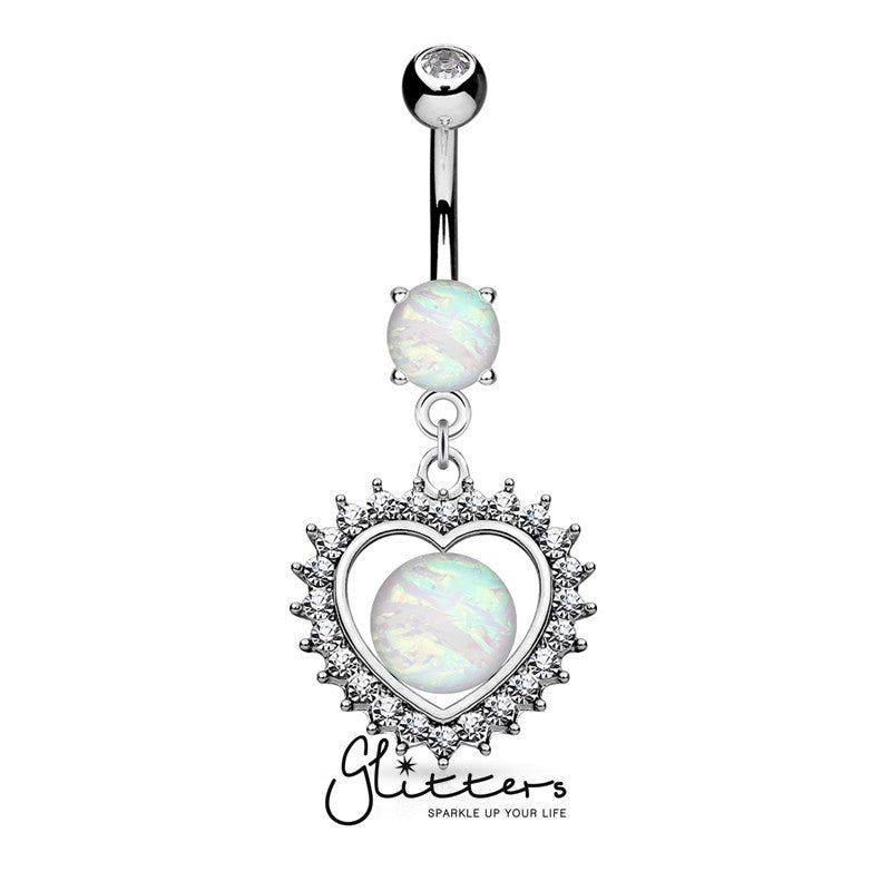 Opal Glitter Set Crystal Paved Heart Dangle Belly Button Navel Ring-Glitters-New Zealand