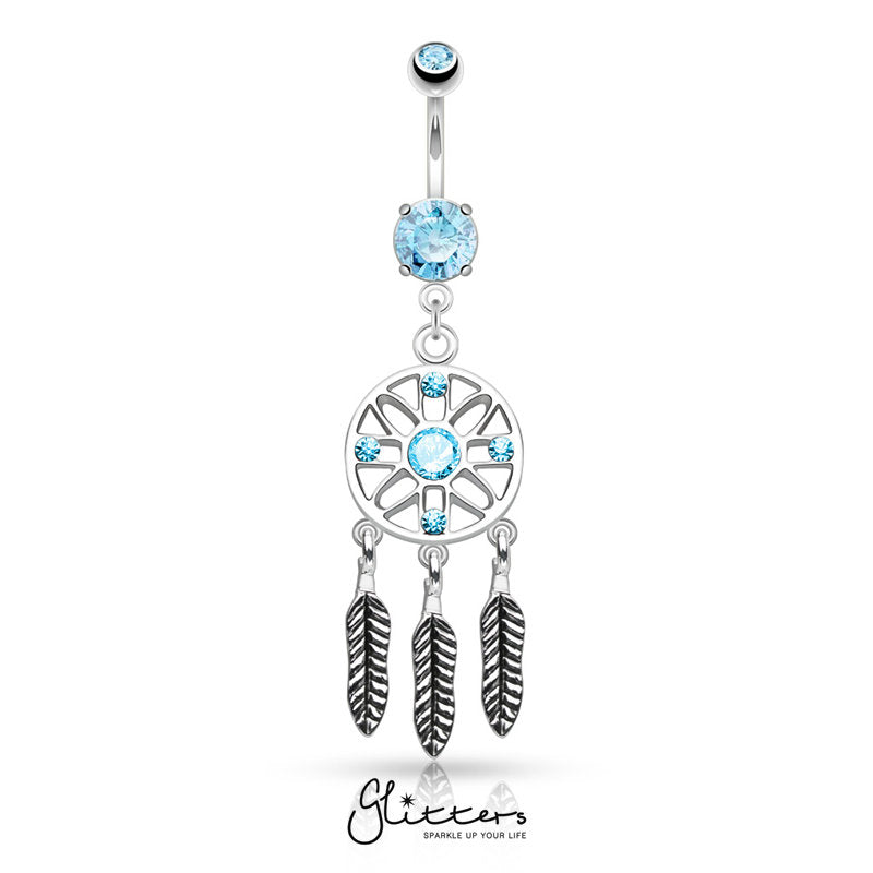 Three Feather Drops Dream Catcher Dangle Belly Button Ring-Aqua-Glitters-New Zealand