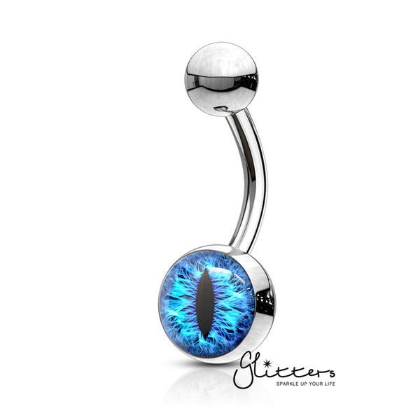 316L Surgical Steel Snake Eye Inlaid Belly Button Navel Ring - Blue-Glitters
