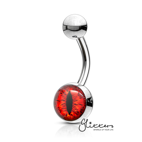 316L Surgical Steel Snake Eye Inlaid Belly Button Navel Ring - Red-Glitters