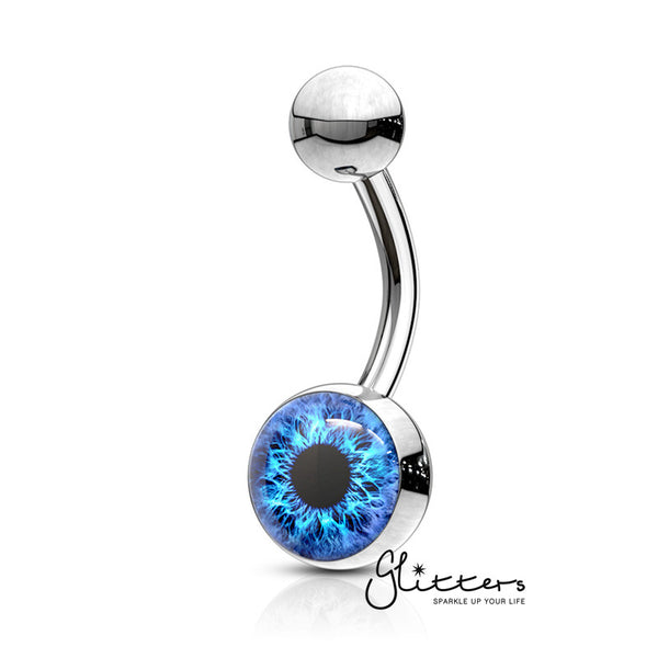 316L Surgical Steel Eye Inlaid Belly Button Navel Ring - Blue-Glitters