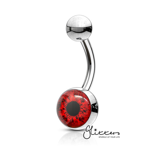 316L Surgical Steel Eye Inlaid Belly Button Navel Ring - Red-Glitters