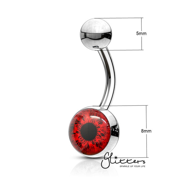 316L Surgical Steel Eye Inlaid Belly Button Navel Ring - Red-Glitters-New Zealand