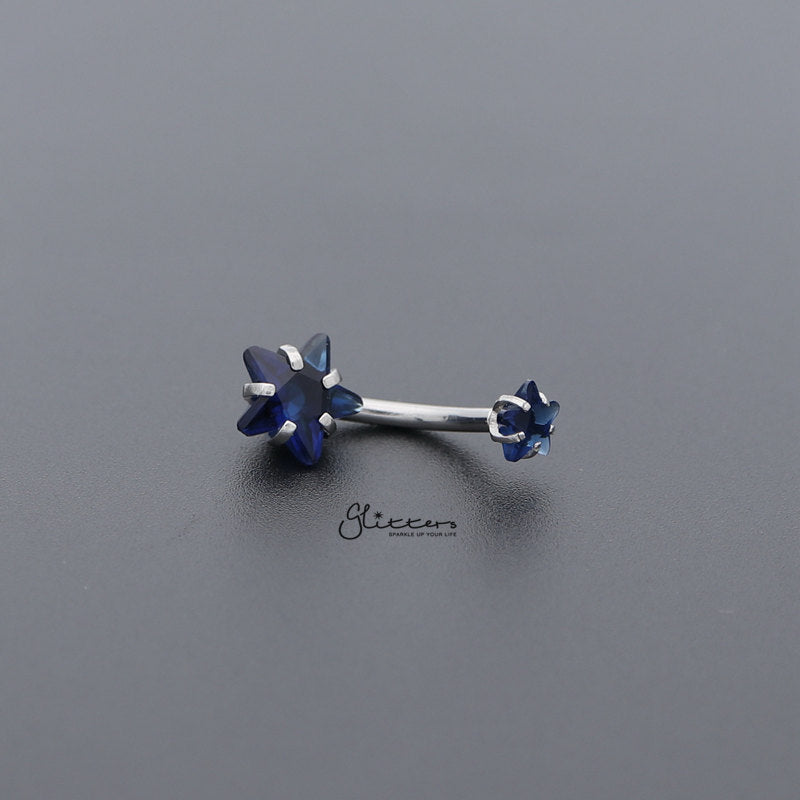 Surgical Steel Internally Threaded Prong Set Star Shape C.Z Belly Button Rings-Blue