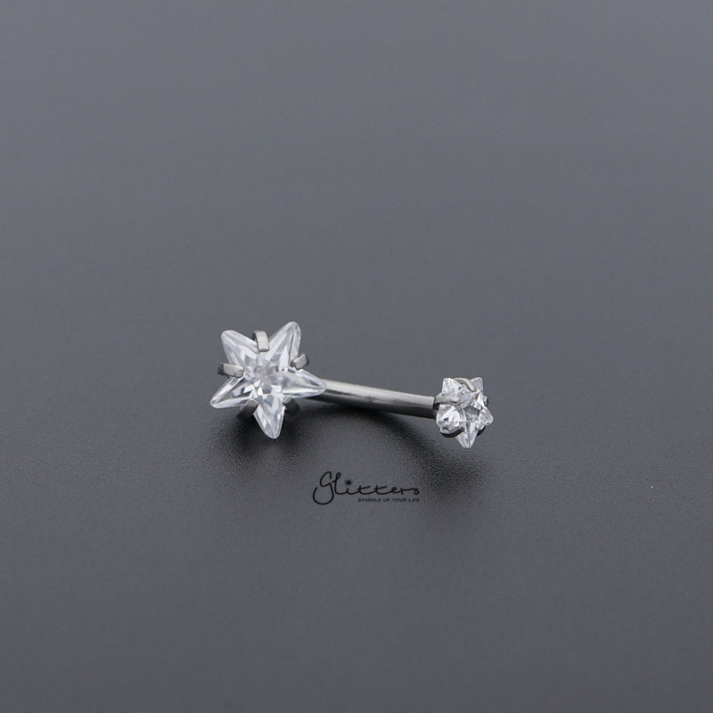 Surgical Steel Internally Threaded Prong Set Star Shape C.Z Belly Button Rings-Clear-Glitters-New Zealand