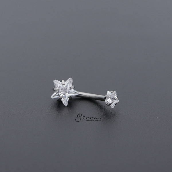 Surgical Steel Internally Threaded Prong Set Star Shape C.Z Belly Button Rings-Clear