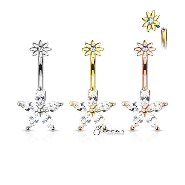 316L Surgical Steel 5 Marquise CZ Petals Flower Belly Button Navel Rings with Internally Threaded CZ Center Small Flower Top
