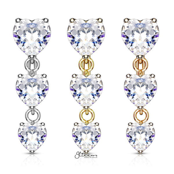 316L Surgical Steel Three Prong Set Heart CZ Vertical Drop Belly Button Navel Rings-Glitters-New Zealand